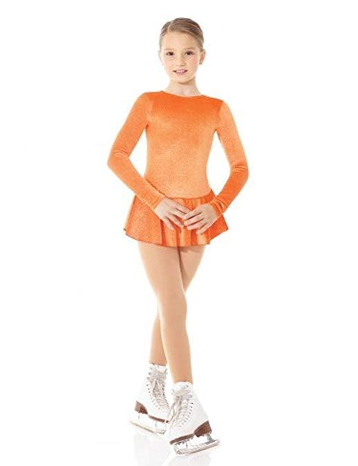 Mondor 2711 Orange Born To Skate Glitter Velvet Figure Skating Dress 4-6