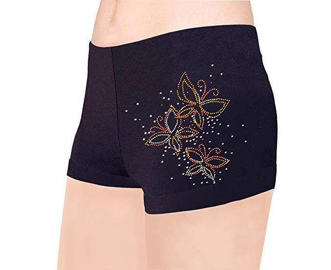 Figure Skating Booty Shorts with Rhinestones (R50, Adult Medium)