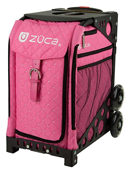 Zuca Pink Hot Sport Insert Bag (Quilted Hot Pink w/Rhinestones) with Black Non-Flashing-Wheels Sport Frame