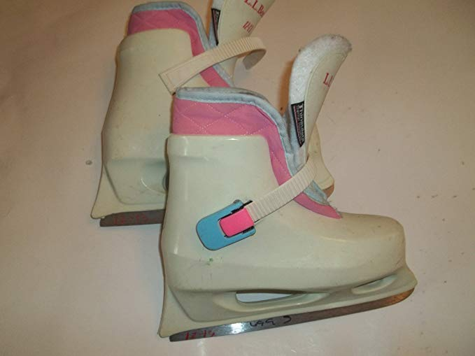 Lake Placid LL Bean Molded Plastic White Ice Figure Skates - Size 12.0-13.0 (youngester) - Very Good Structual Condition